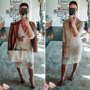 Chelsea & Violet Cream Lace BodyCon Midi Dress